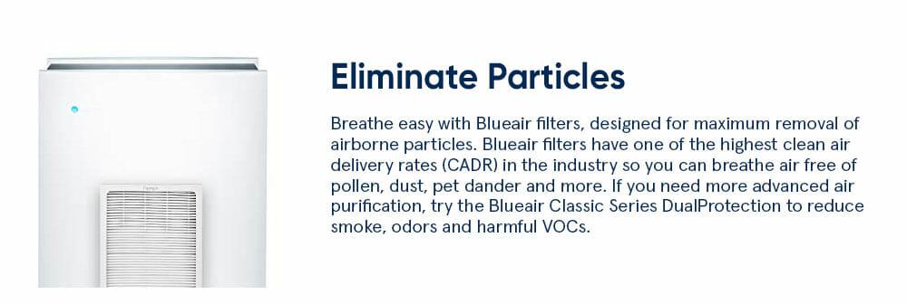 Blueair classic 600 Eliminate particles