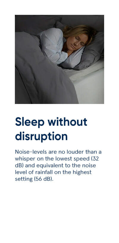 Sleep without disruption - Noise-levels are no louder than a whisper on the lowest speed (32 dB) and equivalent to the noise level of rainfall on the highest setting (56 dB).