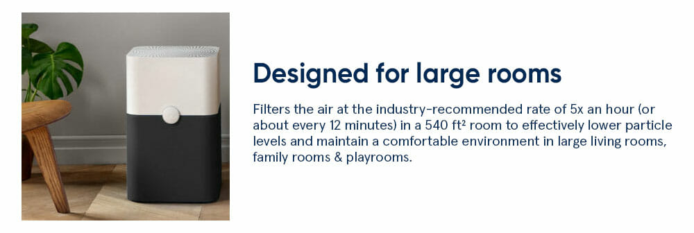 Blue 221 large room size - Filters the air at the industry-recommended rate of 5x an hour (or about every 12 minutes) in a 540 ft² room to effectively lower particle levels and maintain a comfortable environment in large living rooms, family rooms & playrooms.​