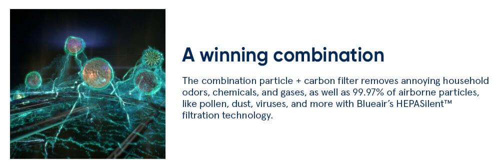 A winning combination - The combination particle + carbon filter removes annoying household odors, chemicals, and gases, as well as 99.97% of airborne particles, like pollen, dust, viruses, and more with Blueair's HEPASilent™ filtration technology.