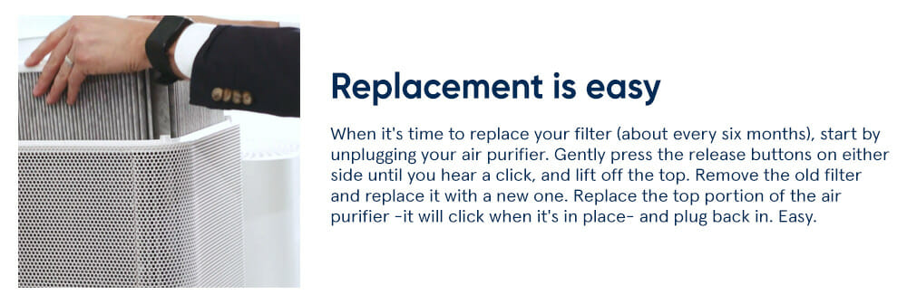 Replacement is easy - When it's time to replace your filter (about every six months), start by unplugging your air purifier. Gently press the release buttons on either side until you hear a click, and lift off the top. Remove the old filter and replace it with a new one. Replace the top portion of the air purifier -it will click when it's in place- and plug back in. Easy.