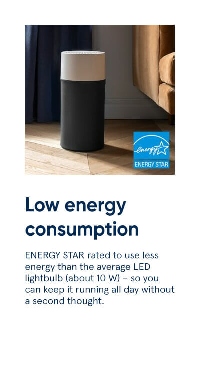 Low energy consumption - ENERGY STAR rated to use less energy than the average LED lightbulb (about 10 W) - so you can keep it running all day without a second thought.