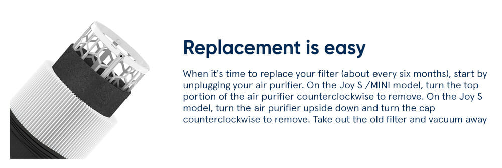 Joy S Replacement is easy - When it's time to replace your filter (about every six months), start by unplugging your air purifier. On the Joy S/MINI model, turn the top portion of the air purifier counterclockwise to remove. On the Joy S model, turn the air purifier upside down and turn the cap counterclockwise to remove. Take out the old filter and vacuum away any dust on the inside. Insert the replacement filter, replace the top/cap and plug back in. Easy.