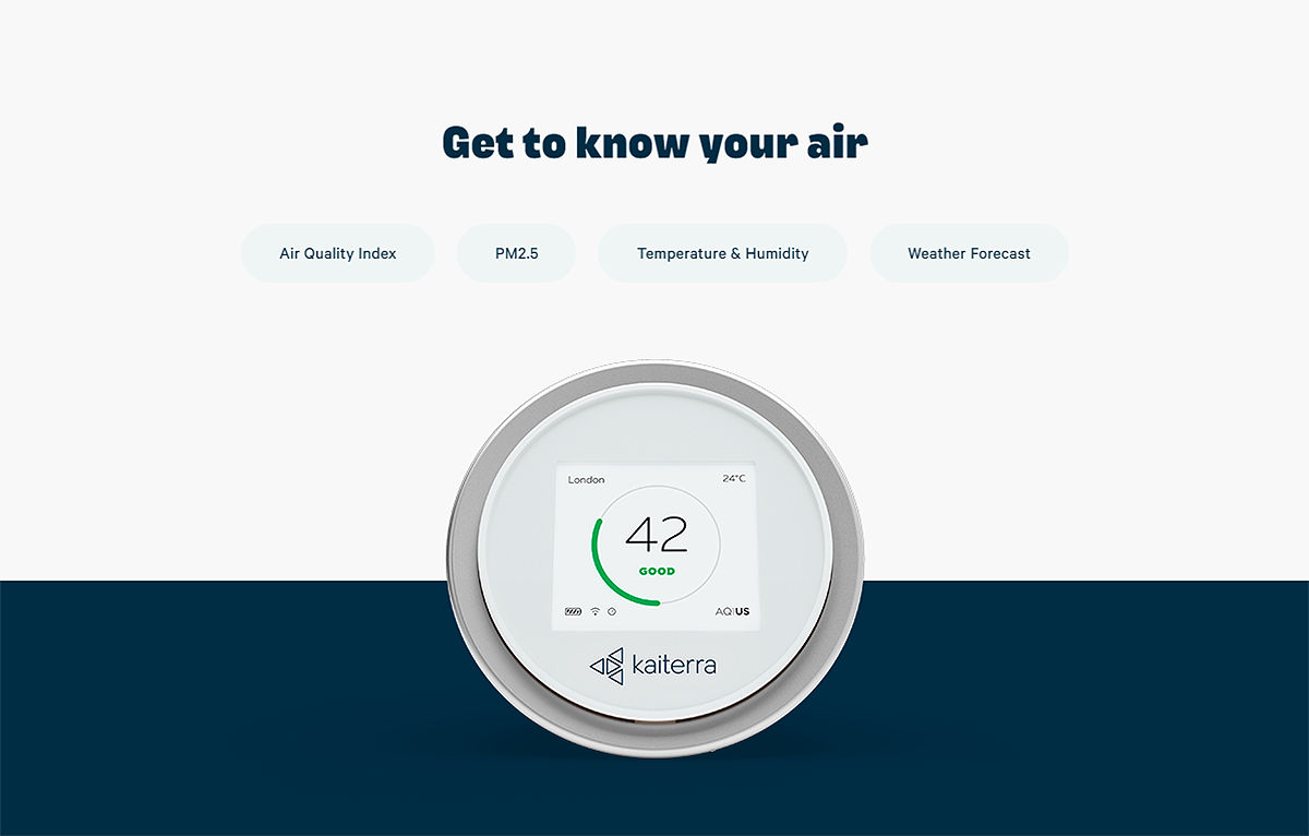 Get to know your air. The Laser Egg measures Air Quality Index, PM2.5, Temperature & Humidity, and provides a Weather Forecast.