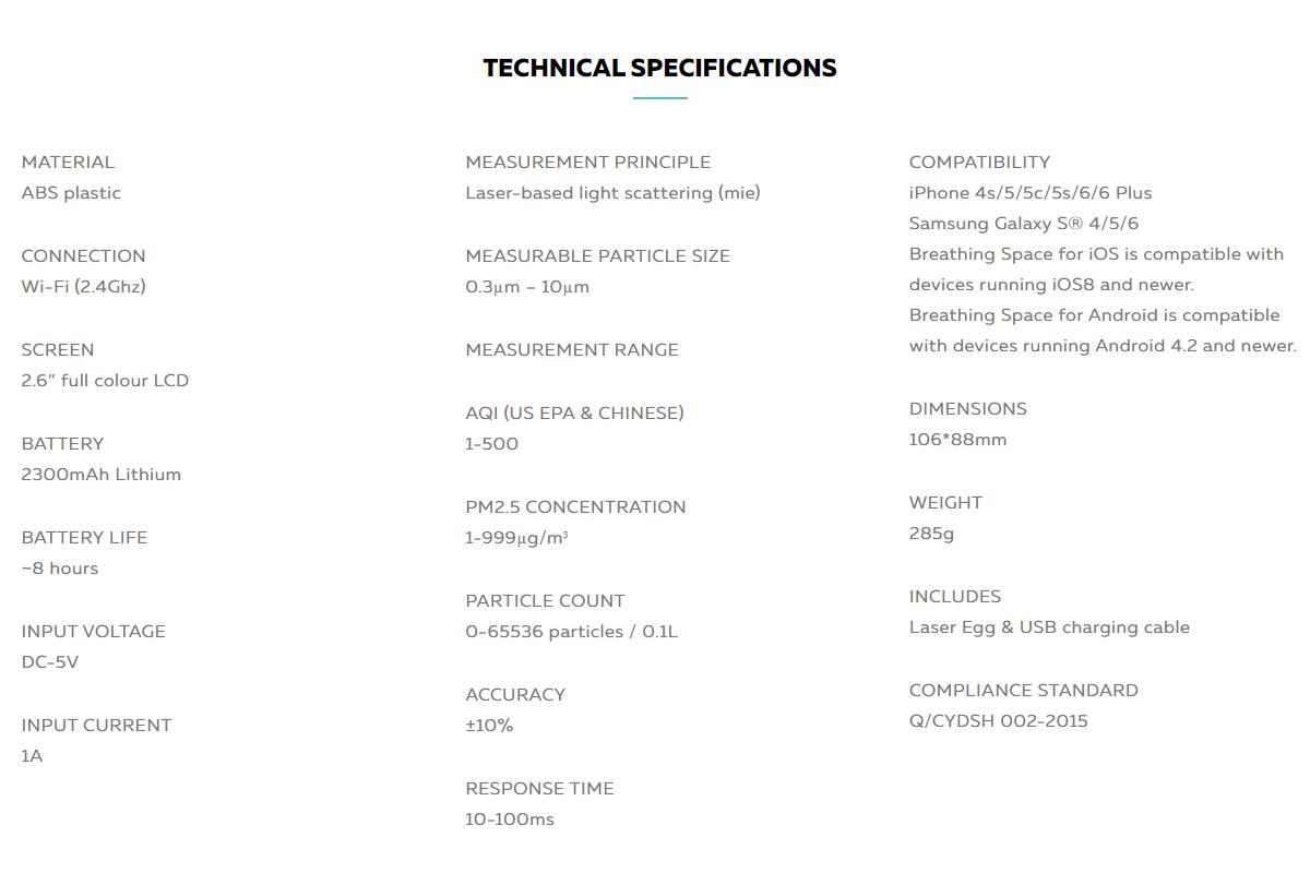 Origin's Laser Egg Technical Specifications