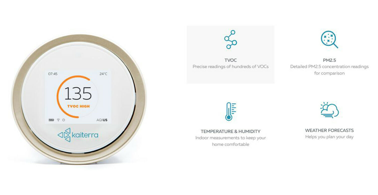 Laser Egg 2+ measures TVOC, AQI, PM2.5, Temperature & Humidity and provides Weather Forecasts
